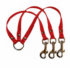 red 3 way dog/puppy  small breed coupler lead 1/2""
