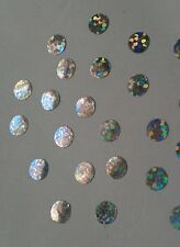 50 silver hologram spots,circle iron on transfers for craft christmas ideas