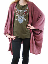 Chaser Women's Cardigan Short Sleeves Relaxed Oversized Fitting Burgundy Size S