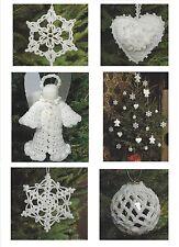 Christmas Tree Decorations Crochet Patterns Fairy Star Heart Angel  4ply  800
