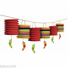 6 PAPER MEXICAN FIESTA CHILLI LANTERN GARLAND HANGING PARTY DECORATION PEPPER