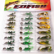 New 24pcs Topwater Soft Sequins Frog fish Lure Bass Bait Crankbait Tackle Hook