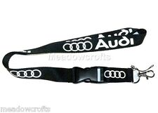 AUDI Lanyard NEW Black  - UK Seller - Car  Keyring ID Holder Phone Strap