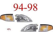 94 98 Mustang V6, V8, 4Pc Head Light & Park Light Kit, Ford, Complete Assemblies