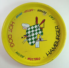 VINTAGE Round Metal Diner Dinner Serving Tray Chief Cook Hot Dog Hamburger