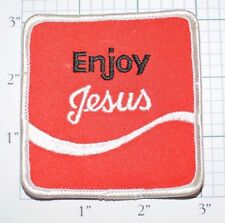ENJOY JESUS Iron-On Vintage Patch Christian Church Coca Cola Reference Parody