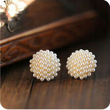 Fashion Women White Beads Pearl Mushroom Gold Plated Earrings Ear Studs