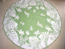 "70"" Round Bird Of Paradise Water Resist Hawaii Print Fabric Tablecloth SAGE"