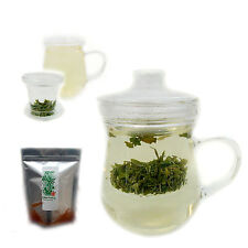 240ml clear GLASS TEA CUP/mug with INFUSER & lid & 50g Chinese leaf Green Tea UK