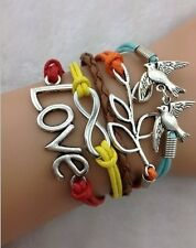 NEW Infinity Love Dove Peace leaf Leather Charm Bracelet plated Silver DIY YS