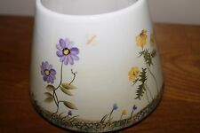 HOME INTERIORS & GIFTS Flowers & Butterflies large Candle Jar Shade Ceramic