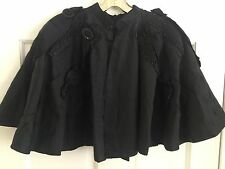 1890s Vintage Victorian Black Cape With Jet Bead Work Steampunk