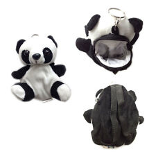 "Plush Keychain Keyring Zippered Coin Pouch Bag Zoo Animal Panda 5"" NEW"