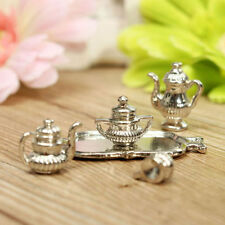 # Vintage Dollhouse Miniature Kitchen Dining Room A Silver Teapot Party Set 1:12