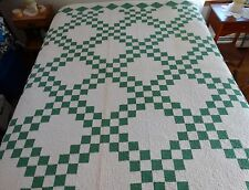 """Beautiful Vintage HAND MADE QUILT GREEN WHITE  88"""" x 82"""" Signed E.H.S. '36"""