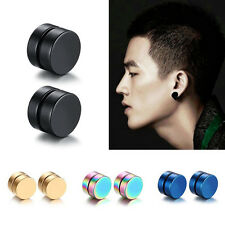 Black color Surgical Steel Magnetic Round Stud Earrings Magnet Ear Jewelry DS42