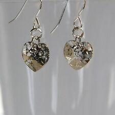 Fab STERLING SILVER 925 CRYSTAL Heart EARRINGS Gold Patina SWAROVSKI Elements