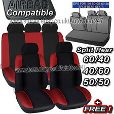 Black Red Air Bag Friendly 5 Headrest Covers,Split Rear Car Seat Covers Full Set