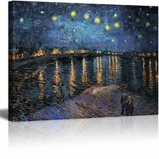 "Starry Night over The Rhone by Vincent Van Gogh Reproduction on Canvas- 24""x32"""