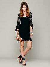New $118 Free People Black Swinging 60'S Dress Size SMALL Black