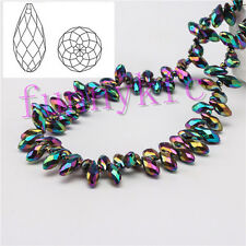 100pcs 6x12mm  Colorful Teardrop Glass Faceted Loose Crystal Pendant Beads