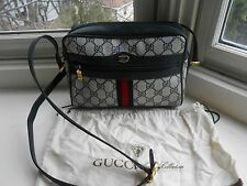 GUCCI ACCESSORY COLLECTION Vintage Navy Canvas Signature Shoulder Handbag