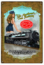 """The Northwest's Own Railway Railroad Pin Up Girl Sign. 12""""x18"""""""