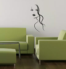 Fashion Woman Girl Face vinyl decal sticker wall art home salon decoration W3