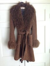 VALENTINO Brown Wool Boucle Coat W/ Mongolian Curly Lamb Fur Trim Sz L 12 EUC