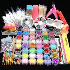 Full 48 Pot Acrylic Nail Art Powder Glitter UV Gel Clipper Brush Tips Set Kit