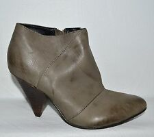 ASOS NEW SZ 6 M 4 UK GRAY LEATHER ANKLE BOOTS HEELS BOOTIES