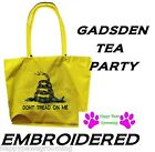 EMBROIDERED DONT TREAD ON ME GADSDEN Snake Heavy Duty TOTE BAG-Beach Shopping