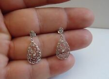 925 STERLING SILVER TEARDROP FILIGREE DANGLING CHANDELIER EARRINGS /STUNNING!!