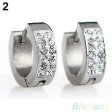 New Men's Women's Punk Rhinestone Titanium Steel Ear Studs Hoop Huggie Earrings