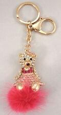 Rhinestone Bling Key Chain Fob Phone Purse Charm Pom-Puff Teddy Bear #B-7