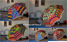 Traditional Cotton Umbrellas Indian Vintage Embroidered Parasol Decor 3 Pcs Lot