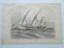 1885 Xilografía: Velaquero del Siglo XVIII Jabeque General Barceló Vapor Moderno