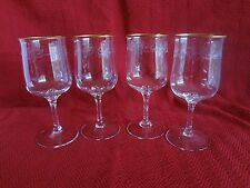 Lenox Crystal - Holiday - Set/4 Water Goblets Etched Holly Design w/Gold Trim