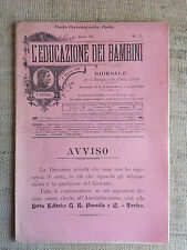 L'educazione dei bambini n.5 giornale per le famiglie e istituti infantili 1899