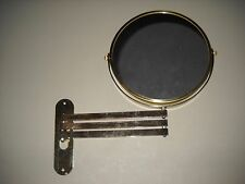 Vintage Expandable Accordion Mirror Magnifying Two Sides Large Gold Finish NOS