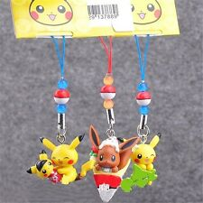 Pokemon Center Pikachu Eevee Mini Figure Keychain Phone Strap Random Ship 1pc