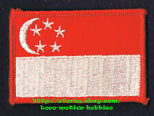 PATCH Woven Badge  SINGAPORE FLAG  Red White Stripe Bar  White C Crescent Stars