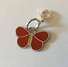 Rojo cierre de mariposa encanto Mariposas Bolso Pulsera esmalte de plata con Cremallera De Regalo