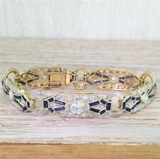 ART DECO OLD CUT DIAMOND & BAGUETTE CUT SAPPHIRE BRACELET - 18k & Plat - BOXED