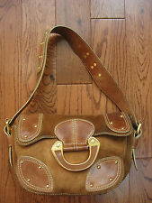 MAXX NEW YORK TAN LEATHER / SUEDE STUDDED HOBO BAG