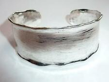 Stunning Silver Tone Wide Hammered Effect Wide Bangle Cuff