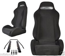 2 BLACK CLOTH RACING SEATS RECLINABLE + SLIDERS PONTIAC NEW *