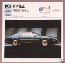 1978-1991 Pontiac Firebird Trans Am Car Photo Spec Sheet Info Stat French Card