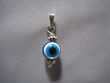 Silver pendant Greek evil eye good luck blue white charm pendant Made in GR ELGR