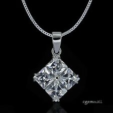 Sterling Silver Clear CZ Rhombus Pendant Necklace #90084